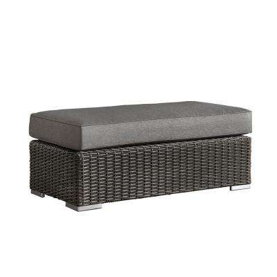 Camari Charcoal Wicker Outdoor Ottoman with Gray Cushion