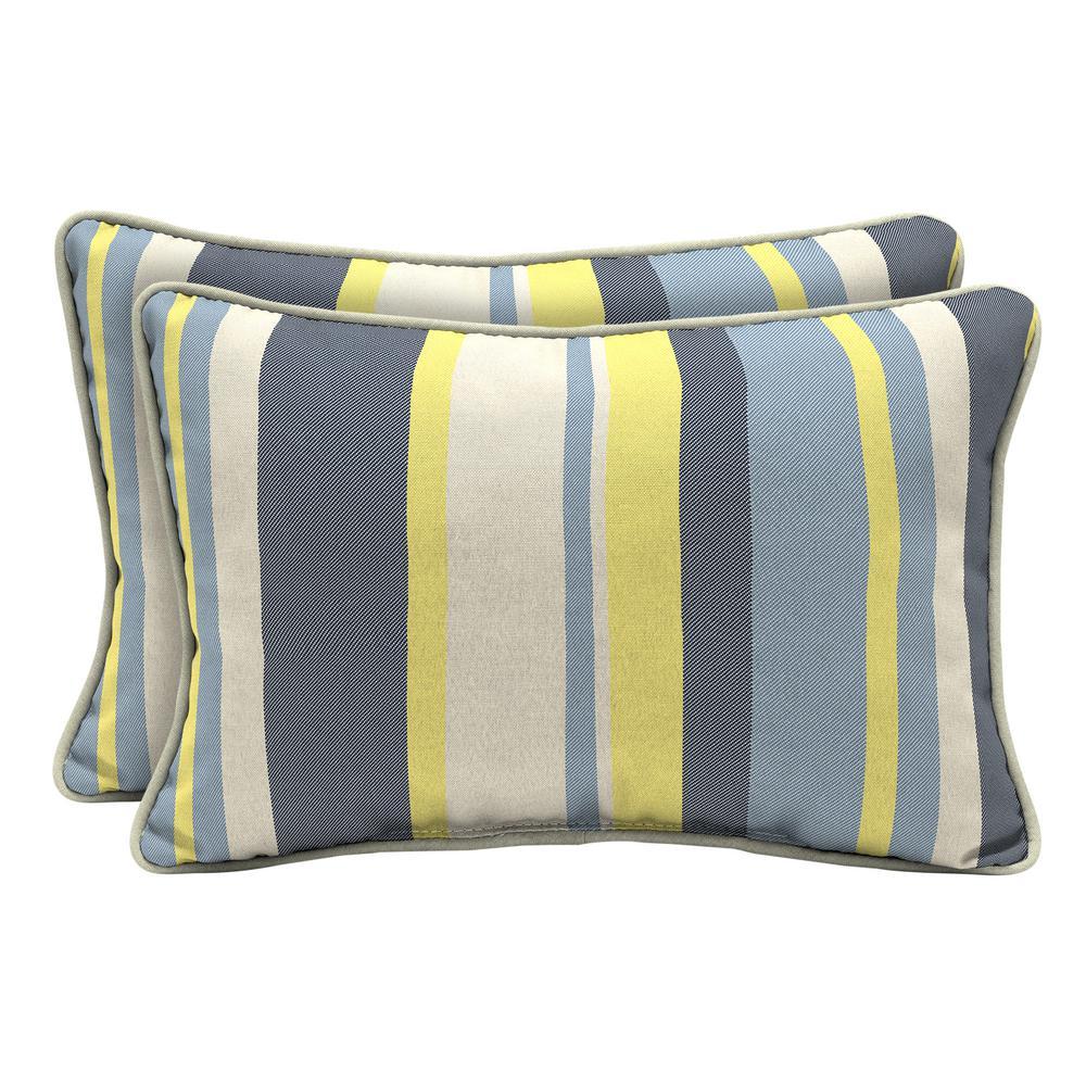 CushionGuard Yellow Jumbo Stripe Lumbar Outdoor Throw Pillow (2-Pack)