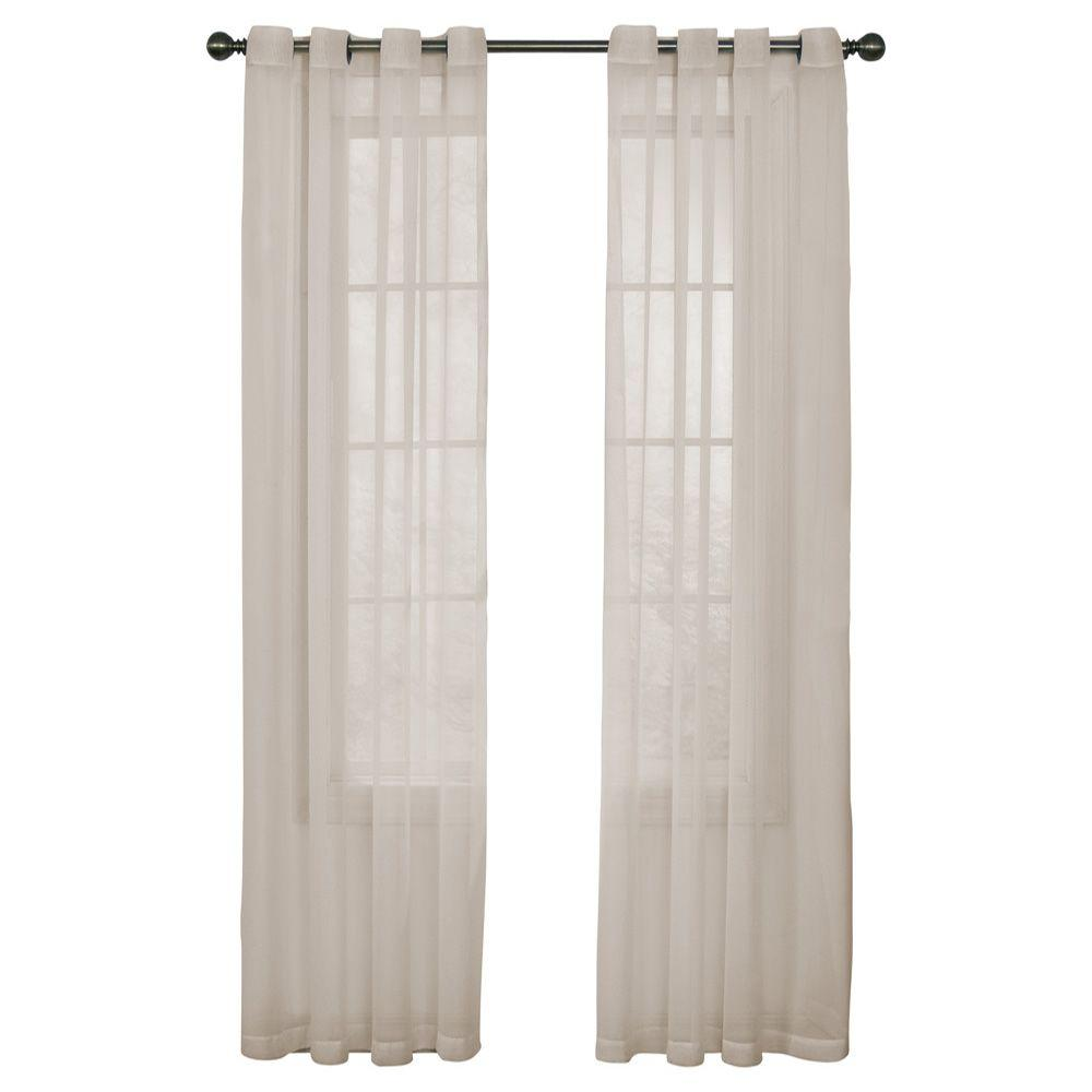 Arm and Hammer Odor Neutralizing Grommet Ivory Polyester Sheer Curtain Panel,