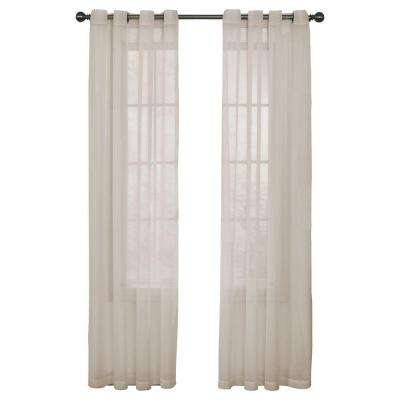 Arm and Hammer Odor Neutralizing Grommet Ivory Polyester Sheer Curtain Panel, 63 in. Length