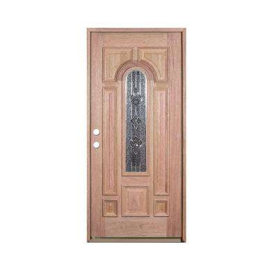 36 in. x 80 in. Deluxe Decorative Center Arch Lite Right-Hand Unfinished Mahogany Solid Wood Prehung Front Door