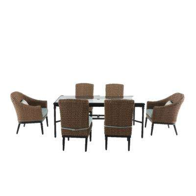 Camden Light Brown Wicker 7 Piece Outdoor Dining Set With Bare Cushions