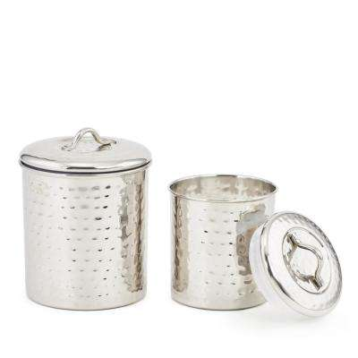 1-1/2 Qt. and 1 Qt. Stainless Steel Hammered Canister Set (2-Piece)