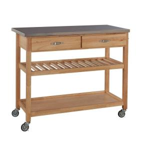 Best Home Styles Natural Designer Utility Cart With Stainless ...