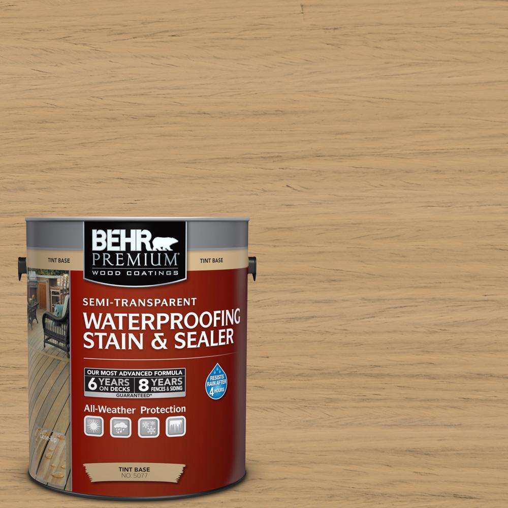 1 gal. #ST-127 Beach Beige Semi-Transparent Waterproofing Exterior Wood Stain and Sealer