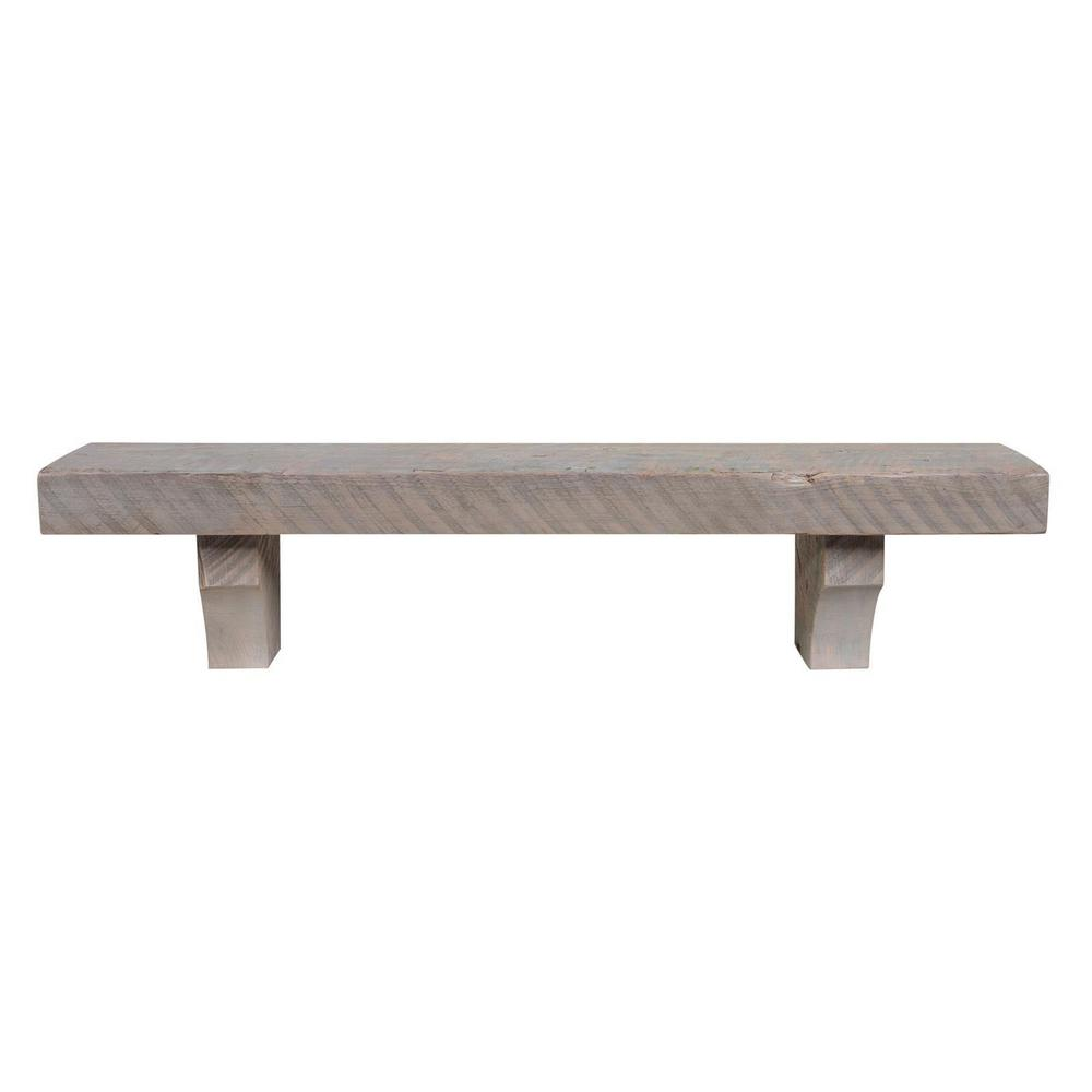 Surprising Pearl Mantels 5 Ft Driftwood Finish Reclaimed Solid Pine Cap Shelf Mantel With Corbels Download Free Architecture Designs Grimeyleaguecom