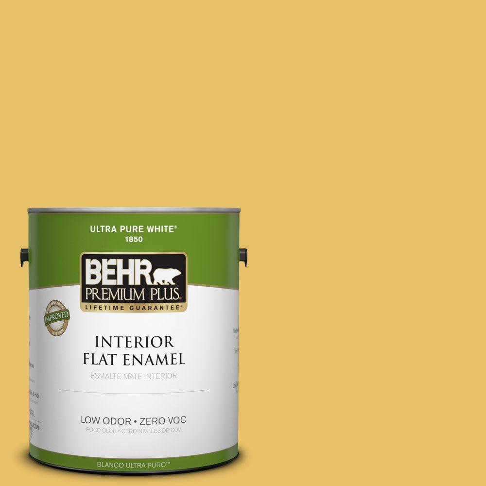 BEHR Premium Plus 1-gal. #360D-5 Golden Chalice Zero VOC Flat Enamel Interior Paint-DISCONTINUED