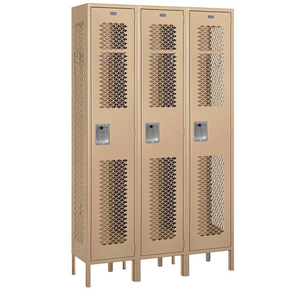 81000 Series 45 in. W x 78 in. H x 15 in. D Single Tier Extra Wide Vented Metal Locker Assembled in Tan