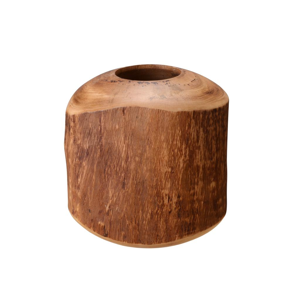 Villacera 8 In Decorative Handmade Round Natural Mango Wood Barrel