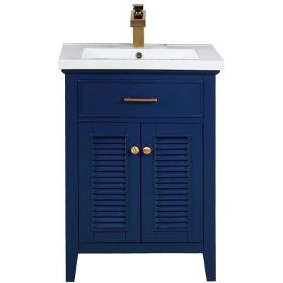 Cameron 24 in. W x 18.5 in. D Bath Vanity in Blue with Porcelain Vanity Top in White with White Basin