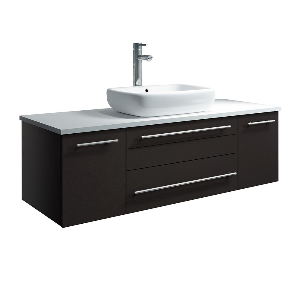 Fresca Lucera 48 in. W Wall Hung Bath Vanity in Espresso with Quartz Stone Vanity Top in White with White Basin