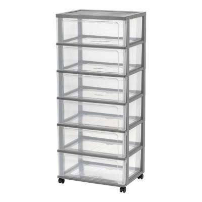 6 Drawer Plastic Wheeled Wide Chest in Gray