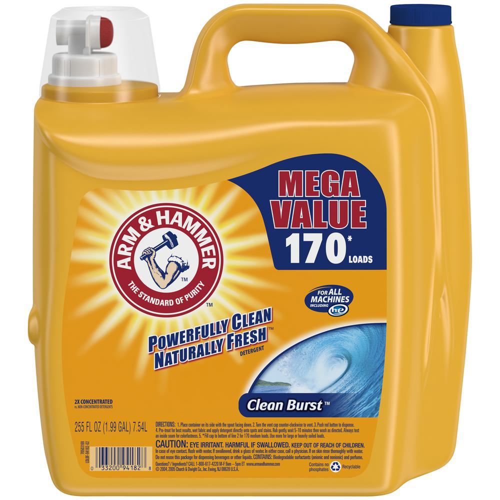 Arm & Hammer 255 oz. HE Clean Burst Liquid Laundry Detergent