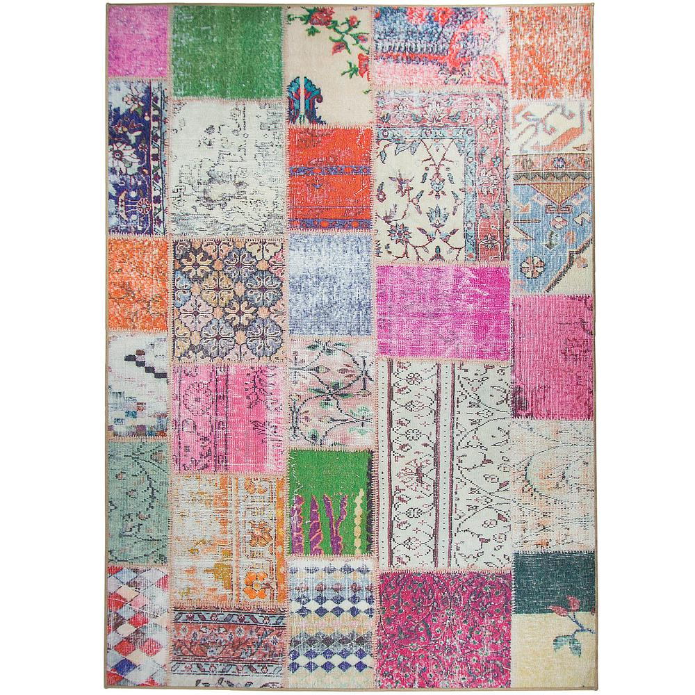 Ruggable Washable Patchwork Boho 5 ft. x 7 ft. Stain Resistant Area Rug