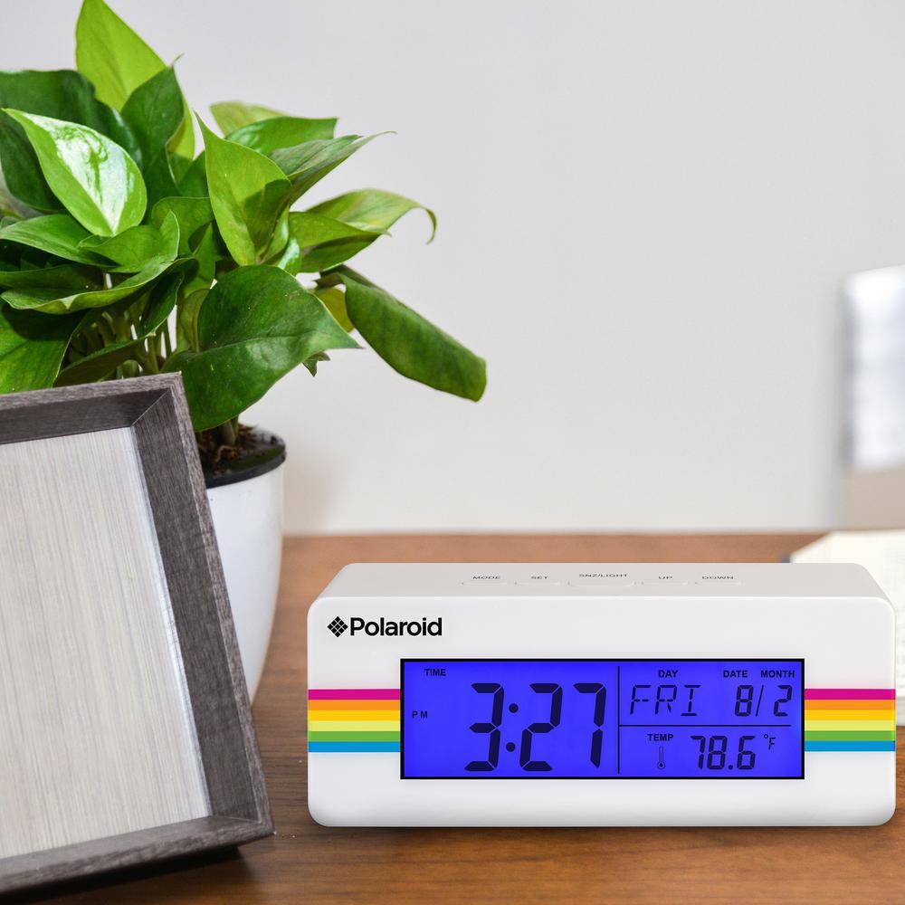 Polaroid White Digital Clock With Indoor Temperature