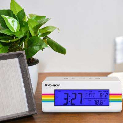 White Digital Clock with Indoor Temperature