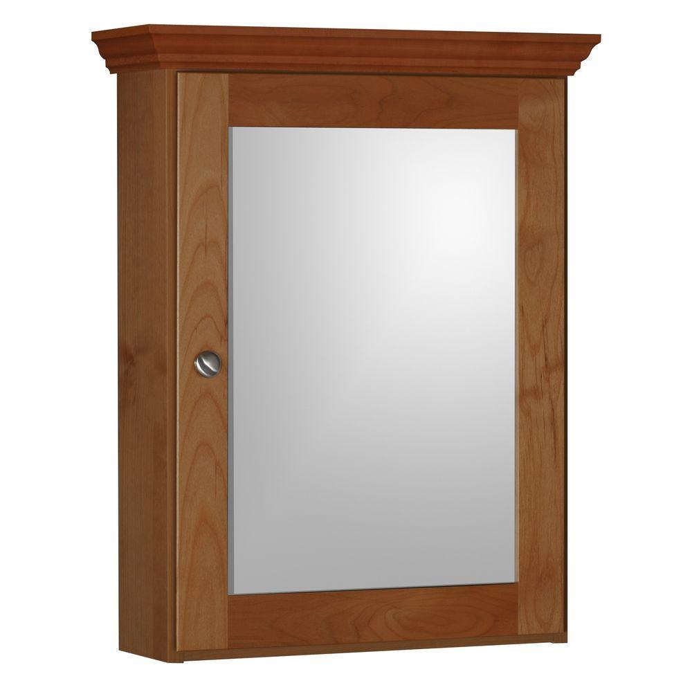 Shaker 19 in. W x 27 in. H x 6-1/2 in. D Framed Surface-Mount Bathroom Medicine Cabinet in Medium Alder