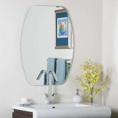 31.5 in. x 23.6 in. Oval Frameless Oval Beveled Mirror with Beveled Edge
