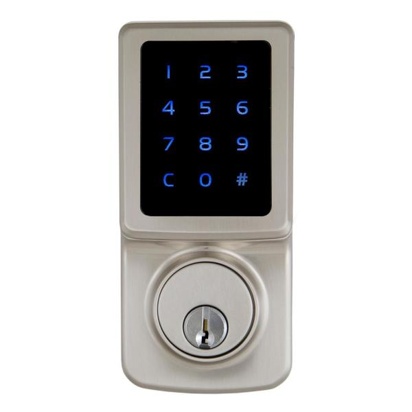 Satin Nickel Single Cylinder Electronic Touchscreen Deadbolt