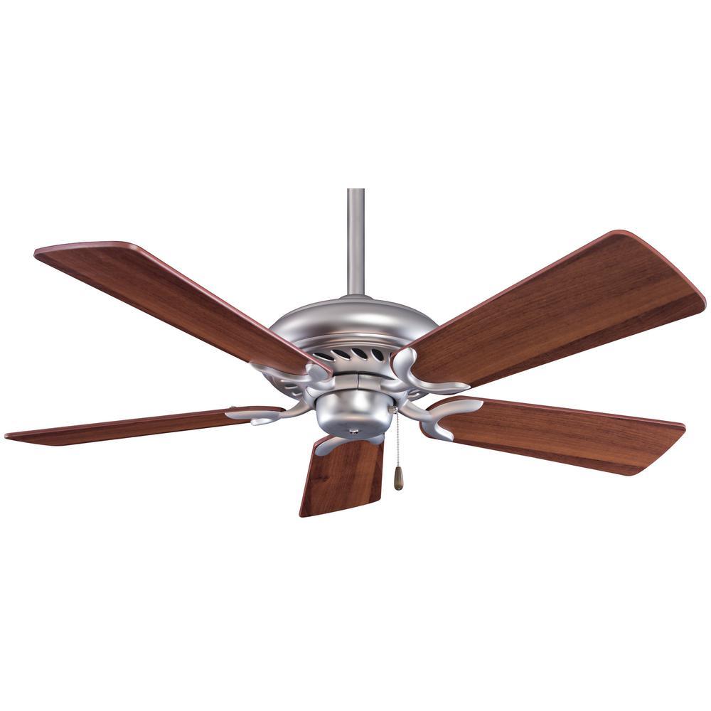 Supra 44 in. Indoor Brushed Steel with Dark Walnut Ceiling Fan