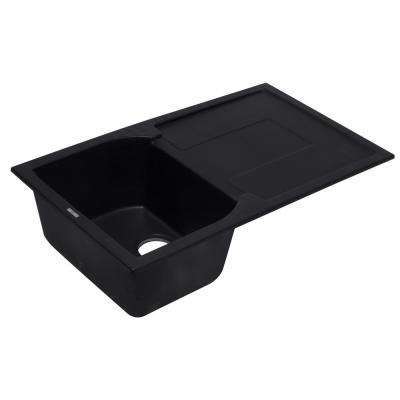Drop-In Granite Composite 33.88 in. Single Bowl Kitchen Sink in Black