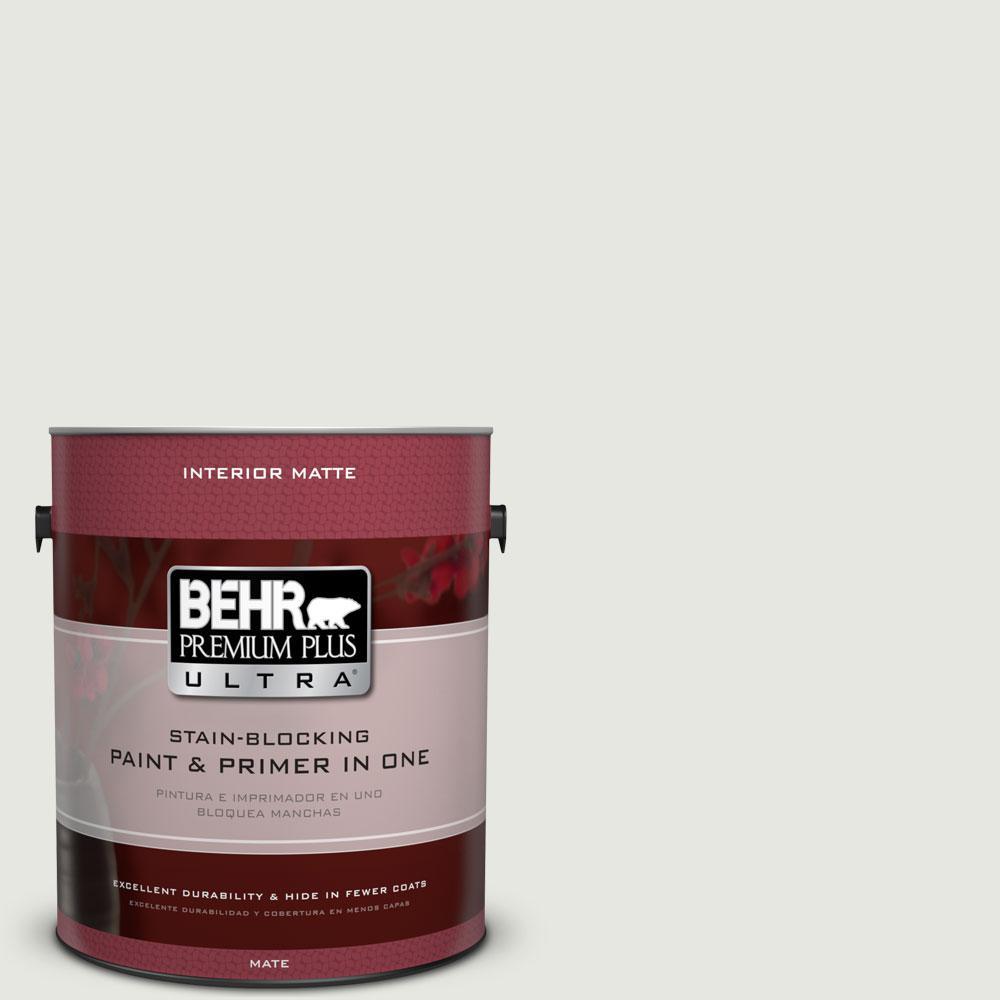 BEHR Premium Plus Ultra 1 gal. #PWN-64 Silver Dust Flat/Matte Interior Paint