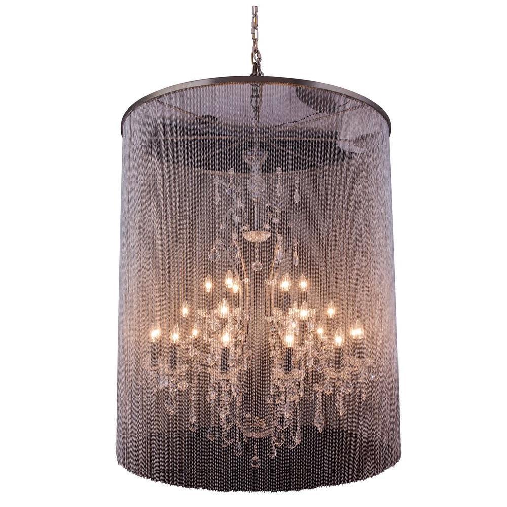 Elegant Lighting Brooklyn 25-Light Mocha Brown Chandelier with Clear Crystal
