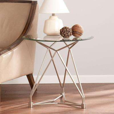 Robin Brushed Silver Glass Top End Table
