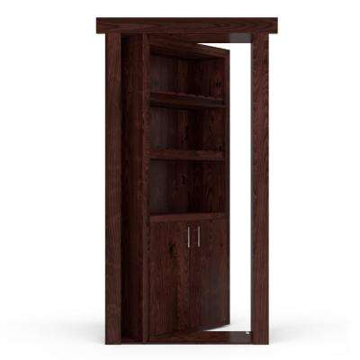 32 in. x 80 in. Flush Mount Assembled Alder Dark Stained Left-Hand Inswing Wine Rack Door