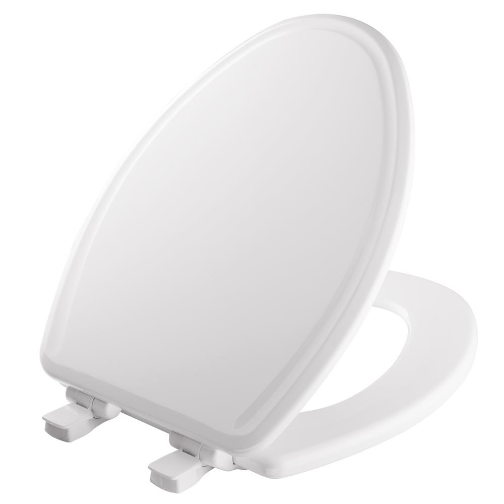 White Bemis 600E3 000 Adjustable StaTite Round-front Toilet Seat with Whisper Close