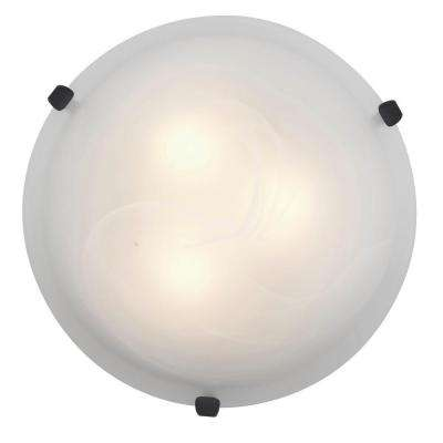 Mona 3-Light Rust Flush Mount with Alabaster Glass Shade