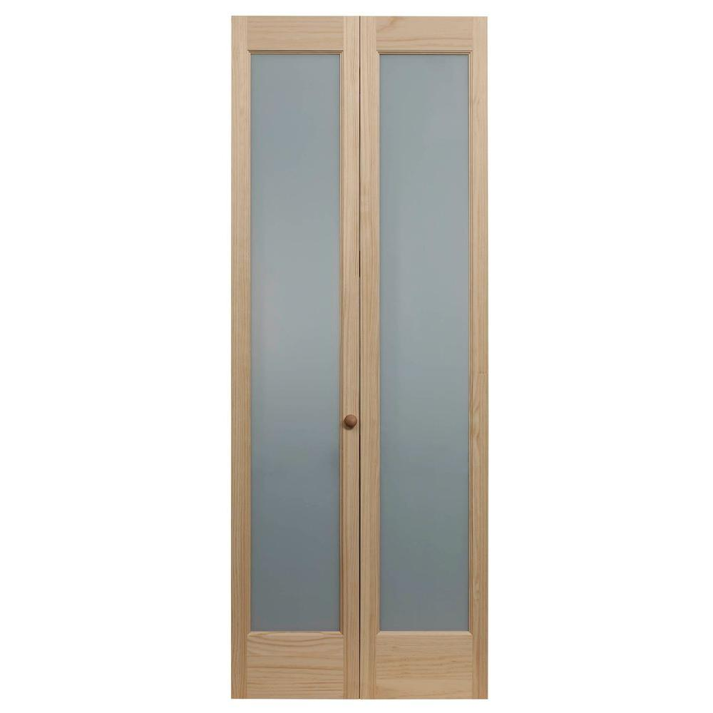 Pinecroft 36 in x 80 in full frosted glass pine interior bi fold door 873330 the home depot Interior doors frosted glass