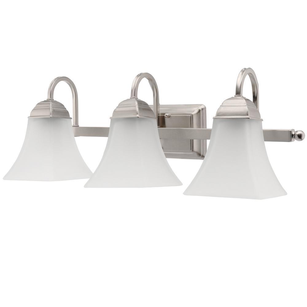 3-Light Brushed Nickel Integrated LED Vanity Light