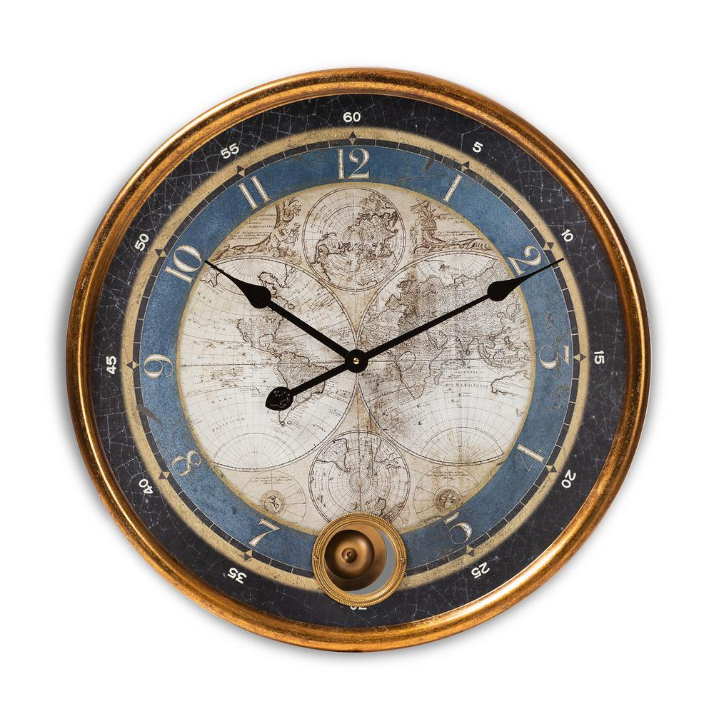 baxton studio clotaire antique gold map wall clock 151. Black Bedroom Furniture Sets. Home Design Ideas