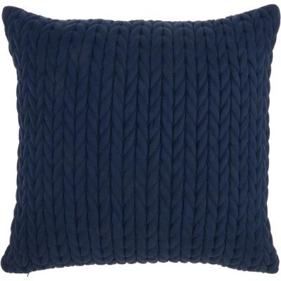 Life Styles Navy Blue 18 in. x 18 in. Square Quilted Chevron Polyester Suede Throw Pillow