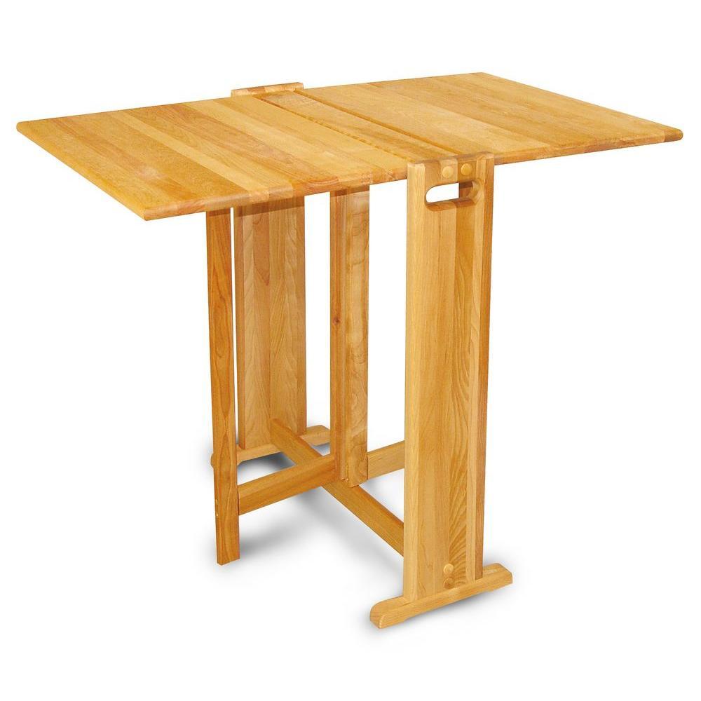 Natural Hardwood Butcher Block Folding Table