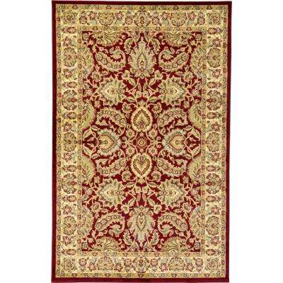 Agra Red 5 ft. x 8 ft. Area Rug