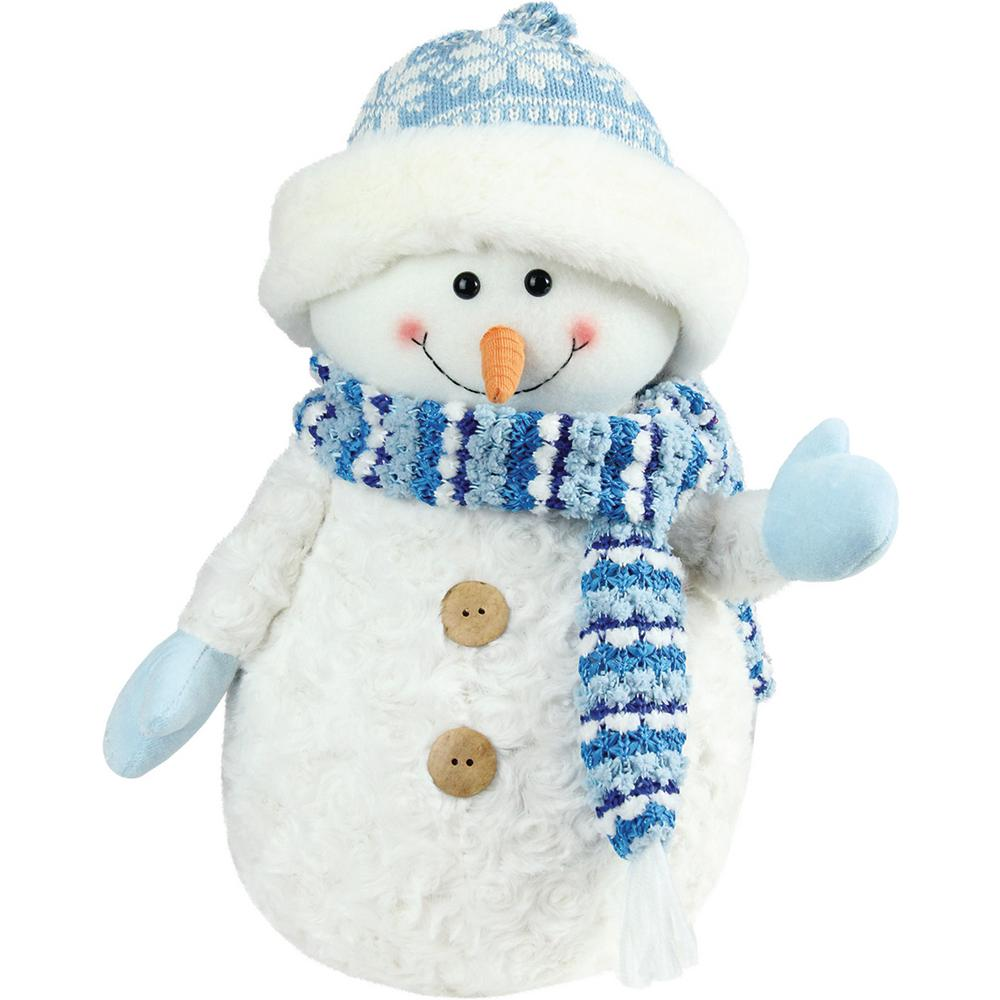 11.5 in. Arctic Blue and White Snowman Wearing Knit Hat Christmas