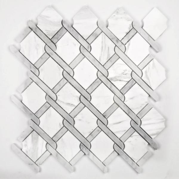 "ABOLOS Mosaic 3"" x 3"" Diamond Calacatta White Marble Peel & Stick Decorative Bathroom Wall Tile Backsplash (13.65 Sq.Ft./Case)"