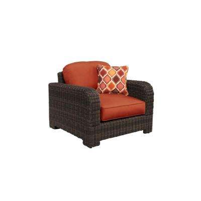 Northshore Patio Lounge Chair with Cinnabar Cushions and Empire Chili Throw Pillow -- CUSTOM