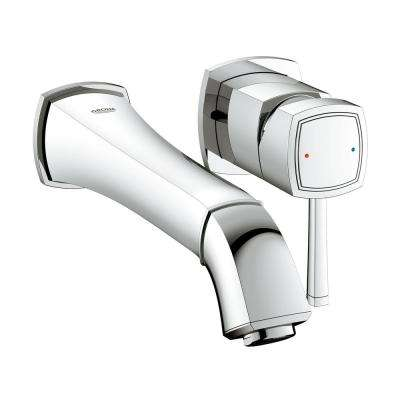 Grandera 1.2 GPM Double Hole Single-Handle Wall-Mount Vessel Bathroom Faucet in StarLight Chrome (Valve Sold Separately)