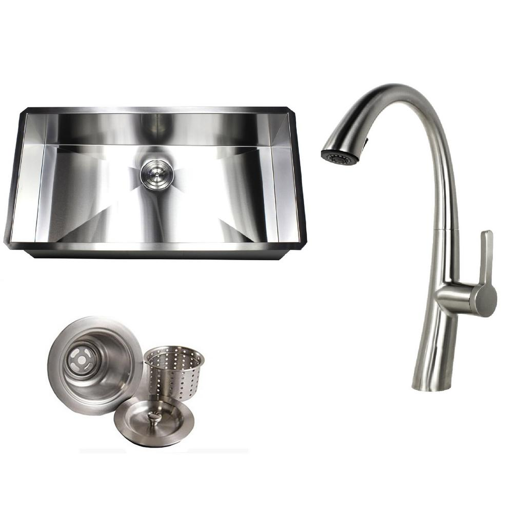 Undermount Deep Stainless Steel 36 in. x 19 in. x 10 in. 16-Gauge Zero Radius Single Bowl Kitchen Sink with Faucet Combo  sc 1 st  Home Depot & Kingsman Hardware Undermount Deep Stainless Steel 36 in. x 19 in. x ...