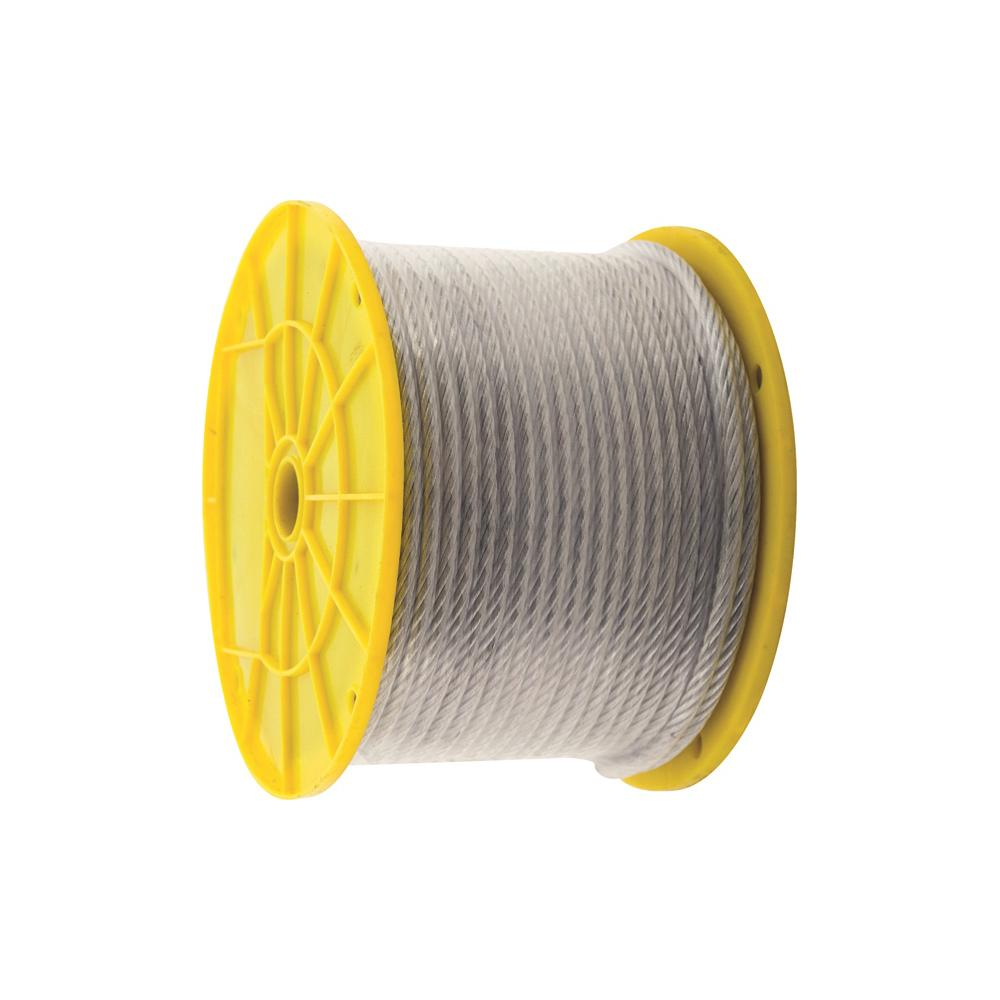 1/8 in. x 3/16 in. x 250 ft. Vinyl-Coated Galvanized Aircraft Cable, 7x7 Construction - 340 lbs Safe Work Load - Reeled, Metallics -  KingChain, 505202