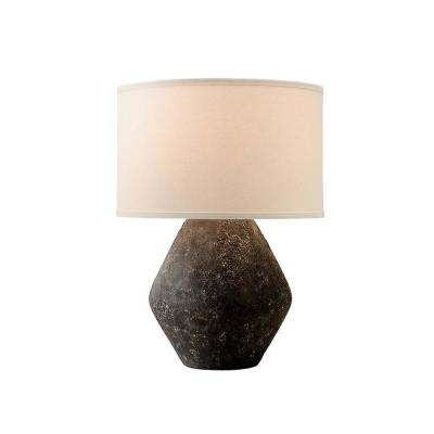 Artifact 23 in. Graystone Table Lamp with Off-White Linen Shade