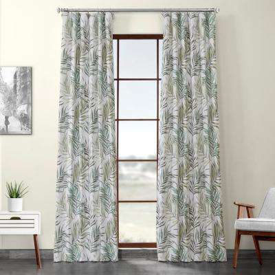 Palms Green Printed Linen Textured Blackout Curtain - 50 in. W x 96 in. L (1-Panel)