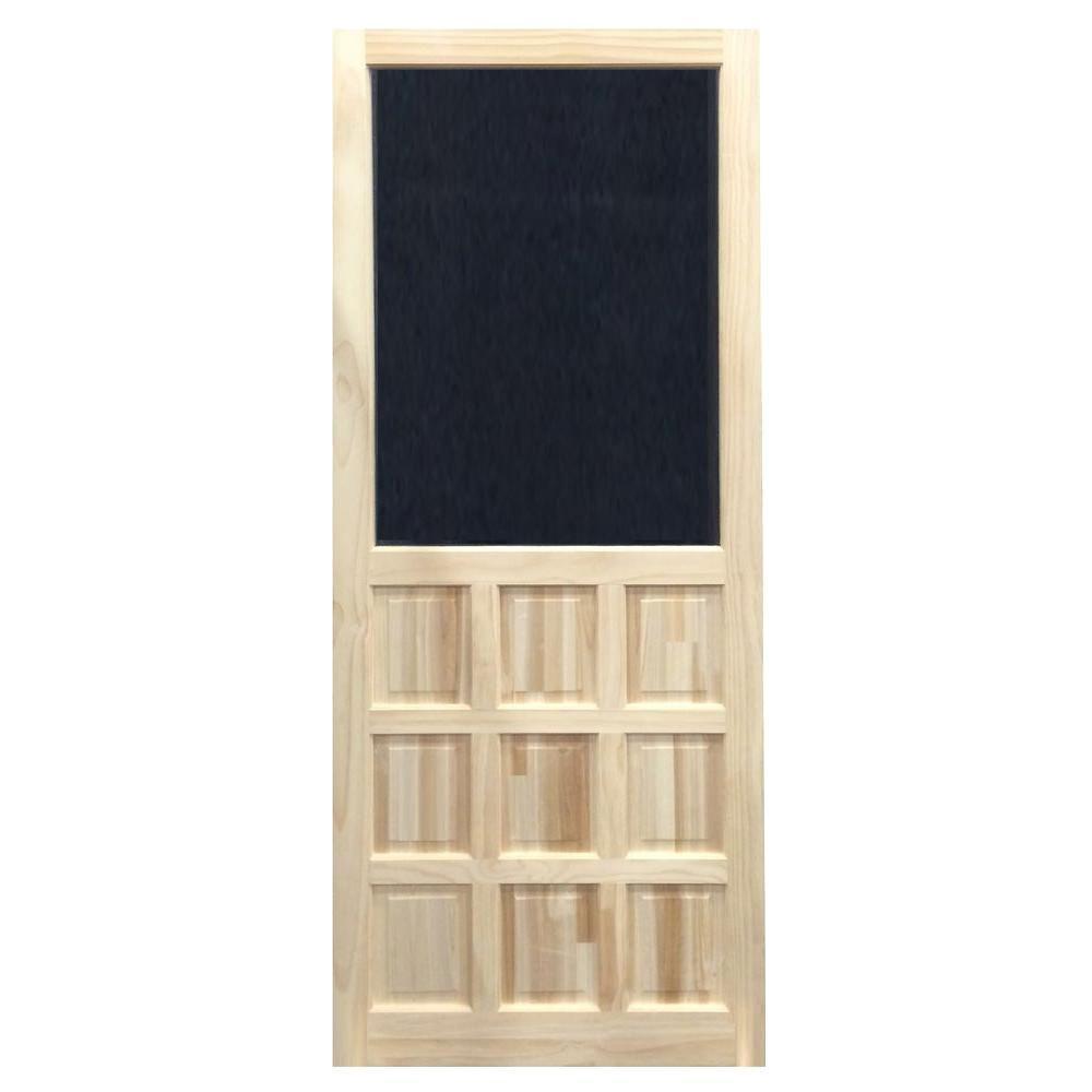 35.75 in. x 79.75 in. Nine Panel Stainable Screen Door
