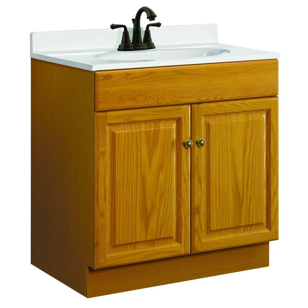 Glacier Bay Hampton 30 In W X 21 In D X 33 5 In H Bath Vanity Cabinet Only In Oak Hoa30d
