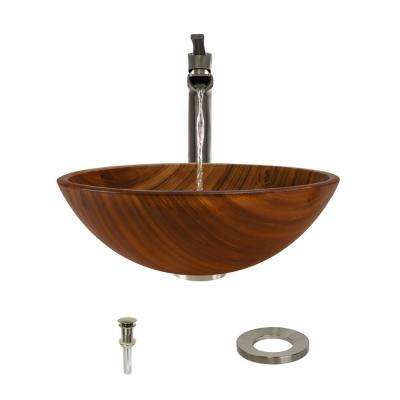 Glass Vessel Sink in Wood Grain with 731 Faucet and Pop-Up Drain in Brushed Nickel