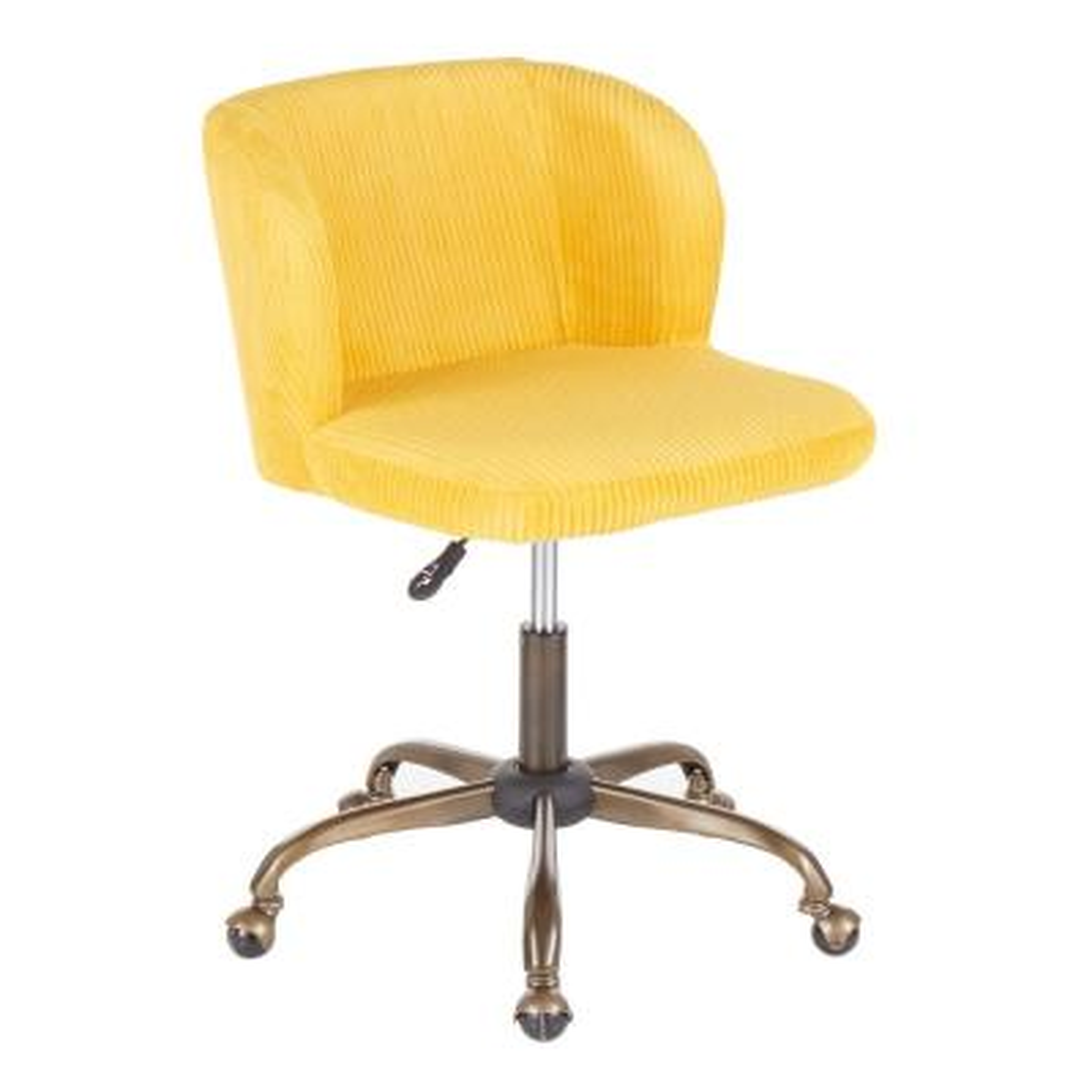 Fran Antique Yellow Corduroy Adjustable Task Chair