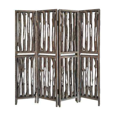 Wrightwood 7 ft. Brown 4-Panel Room Divider